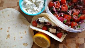 Bobby Flay Fit Greek Tacos with Tzatziki and Tomato Relish Recipe
