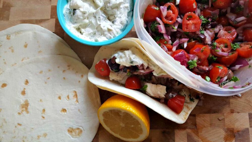 Bobby Flay Greek Tacos with all the toppings