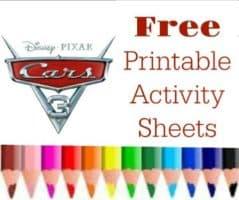 Free Printable Cars 3 Coloring Sheets and Activity Sheets