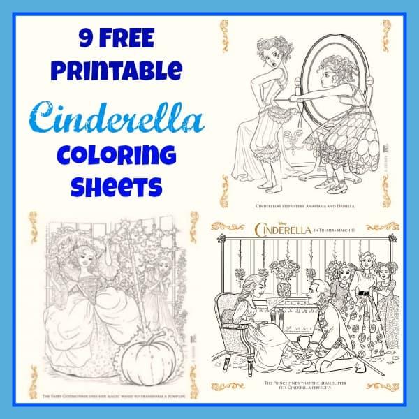 Cinderella Coloring Sheets Collage