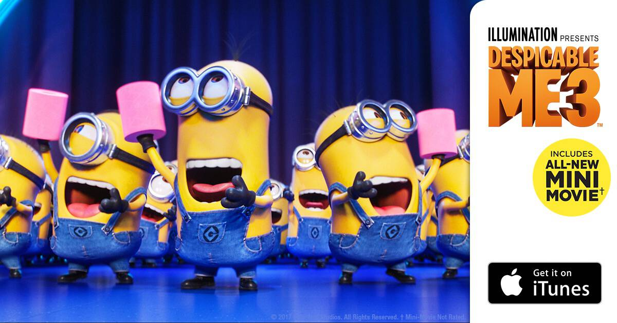 Own your copy of #DespicableMe3 Special Edition with All-New Mini Movie, Minion moments and iTunes Extras TODAY! http://uni.pictures/DM3iTBH #DM3family #AD