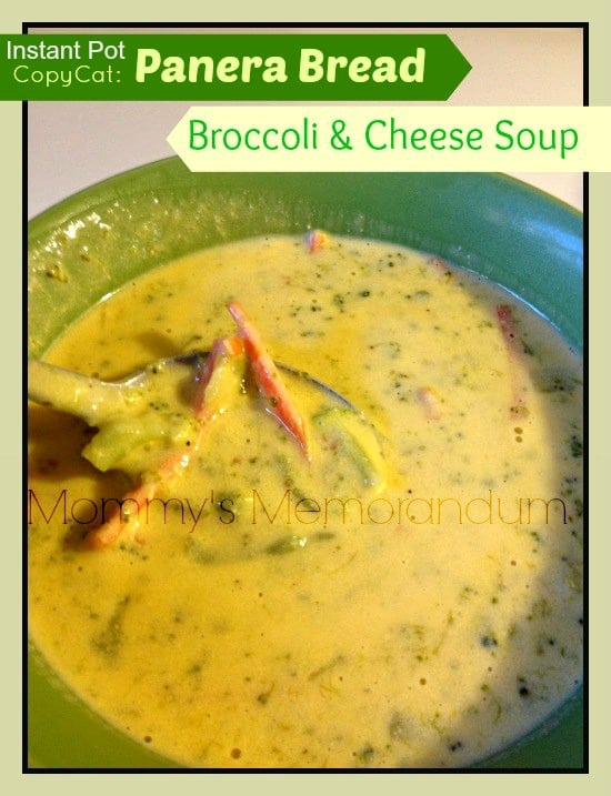 Instant Pot Copy Cat Panera Bread Broccoli and Cheese Soup