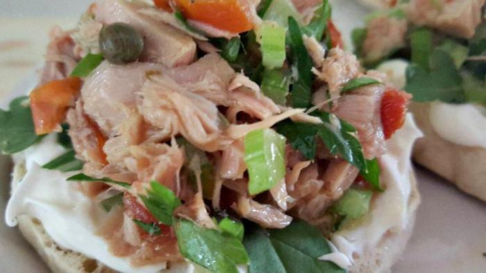 Sicilian tuna salad sandwich giadas italy close up