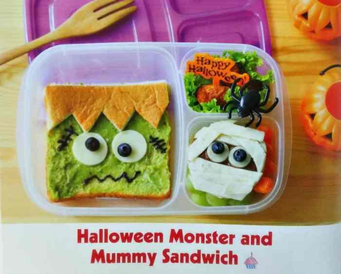 Yummy Kawaii Bento by Li Ming Lee Halloween Monster and Mummy Sandwich