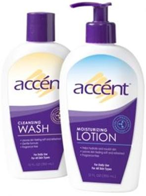 accént cleansing wash and moisturizing lotion