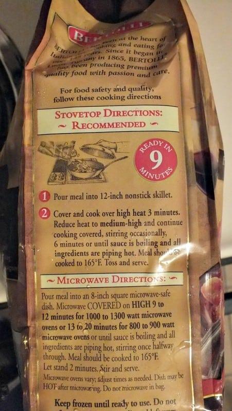 bertolli stove top directions
