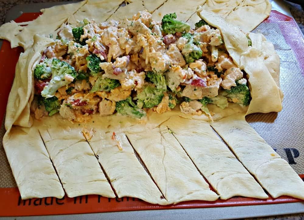 broccoli cheese chicken bake recipe folding over ends