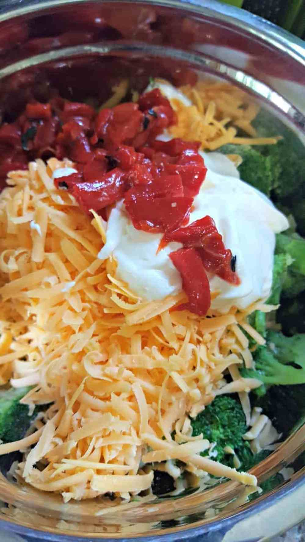 broccoli cheese chicken bake recipe ingredients adding roasted red pepper