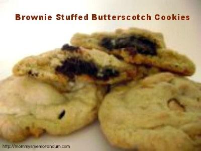 brownie stuffed butterscotch cookies recipe