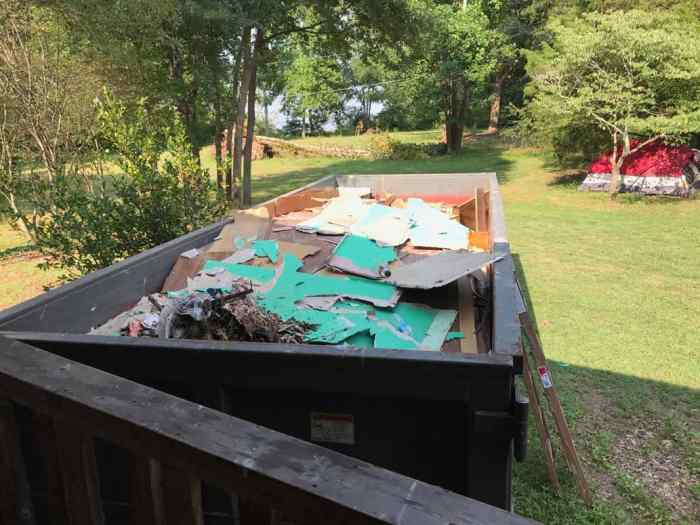 dad's house home remodel dumpster