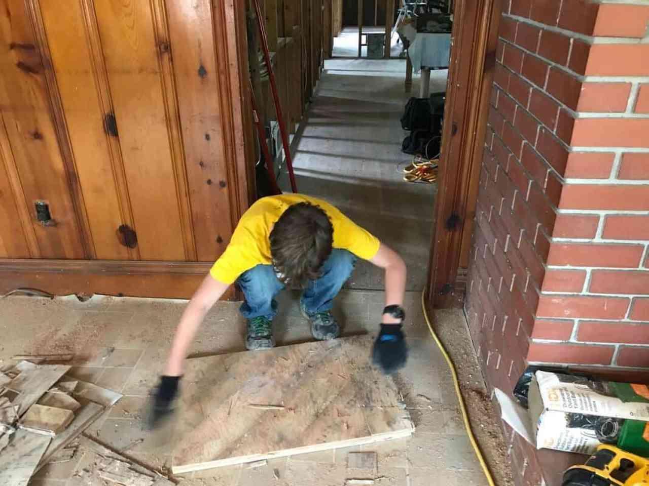 dad's house home remodel william hauling floor