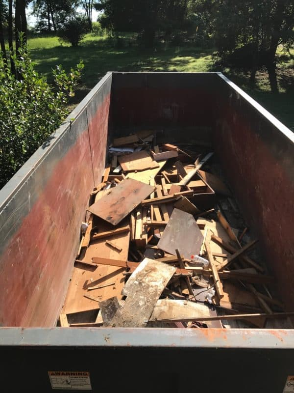 dad's house kitchen demolition dumpster