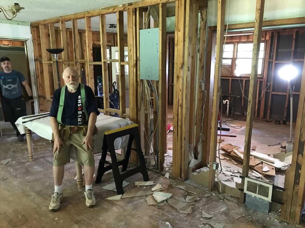 dad's house living room demolition dad resting