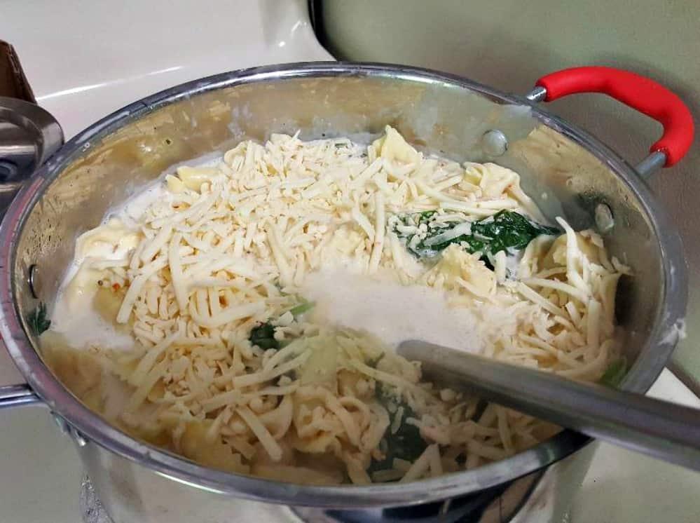 easiest cheesiest tortellini bake recipe add colby jack cheese