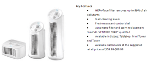 Febreze Tower Air Purifier with Hepa-Type Filters Helps with Allergies