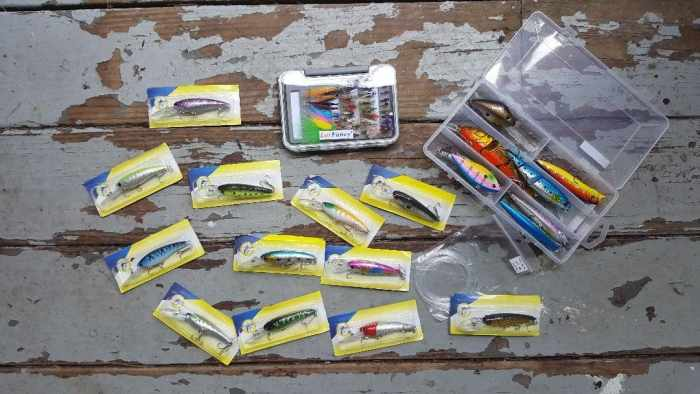 fishing lures on distressed wood