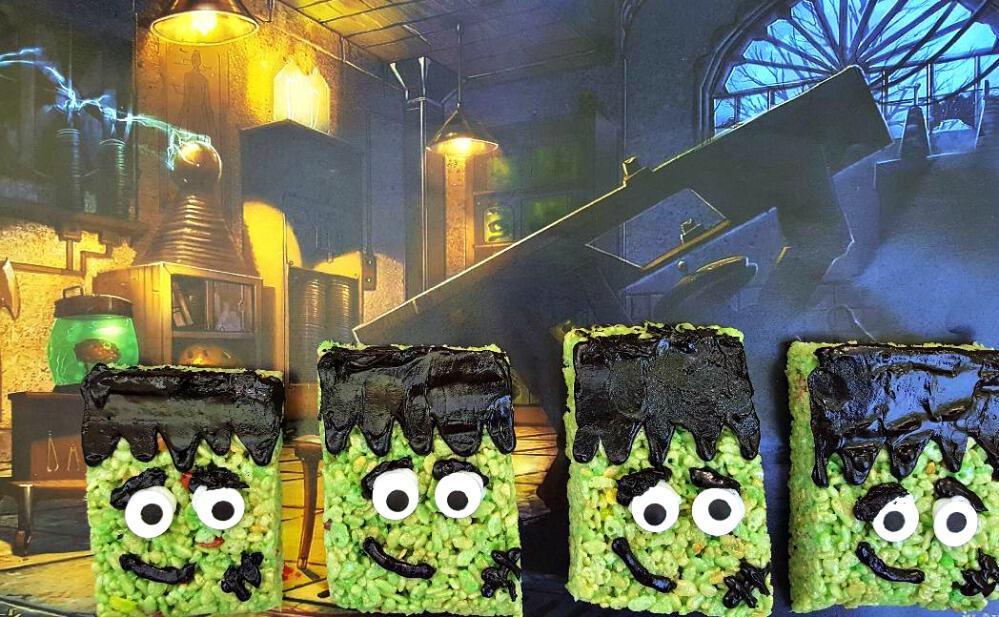 Frankenstein rice krispies treats in lab