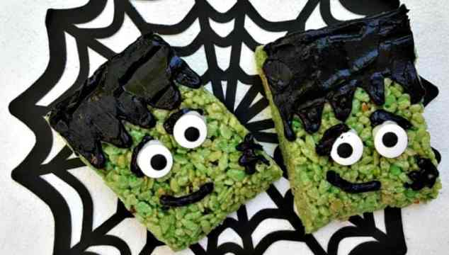 Frankenstein Rice Krispies Treats #DIY