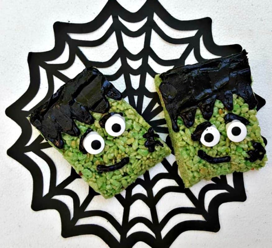 step up your favorite rice krispies treats with these easy frankenstein rice krispies treats they are so easy to make and so much fun to eat
