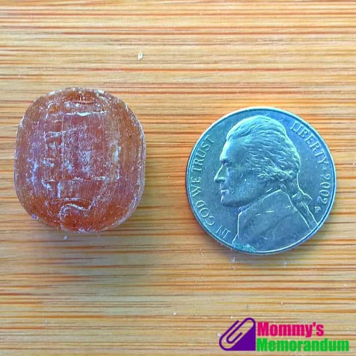 goorganic hard candy about the size of a nickel