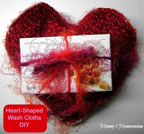 heart shaped washcloths #DIY #Valentine