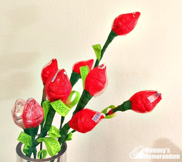 hershey kisses roses in vase
