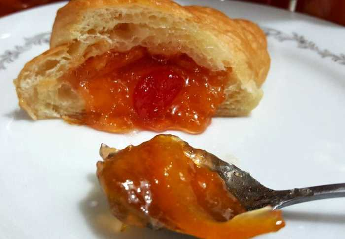 instant pot lemon cherry marmalade on croissant