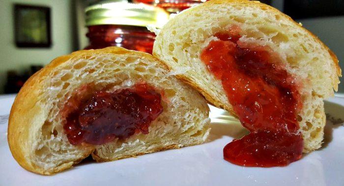 instant pot strawberry habanero preserve recipe in a croissant