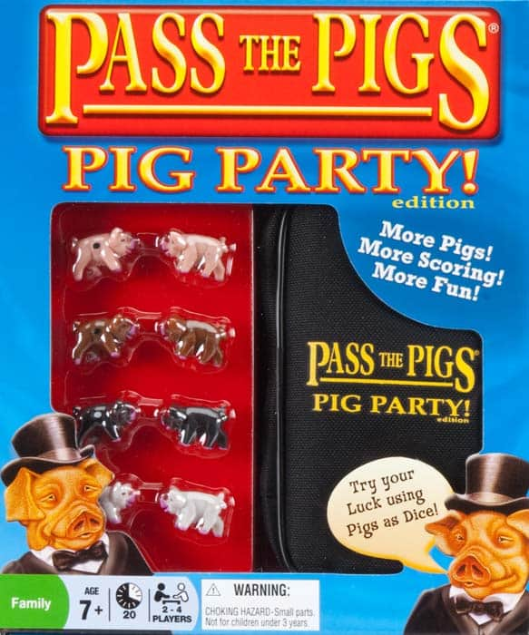 Family Game Night pass the pigs pig party