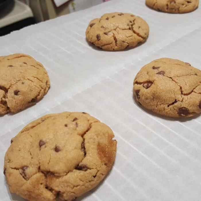 These Peanut Butter Chocolate Chip cookies out of the oven, warm--they are my guilty pleasure. More of a chocolate chip cookie texture than peanut butter cookies; these cookies are the best of both worlds.