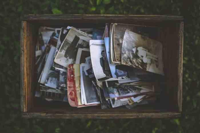 photos in a wooden box