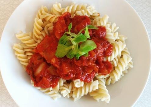 pasta dish with marinara