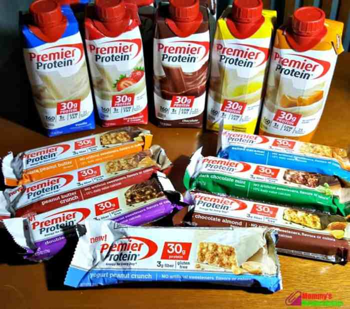 premier protein bars and shakes