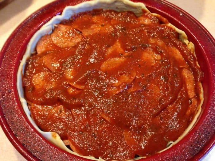 priazzo recipe pie crust in pan adding more sauce