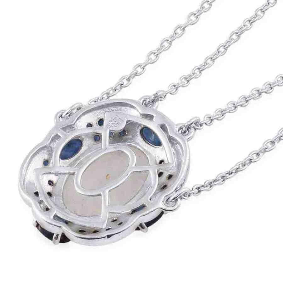 moonstone sapphire necklace, rainbow moonstone necklace back