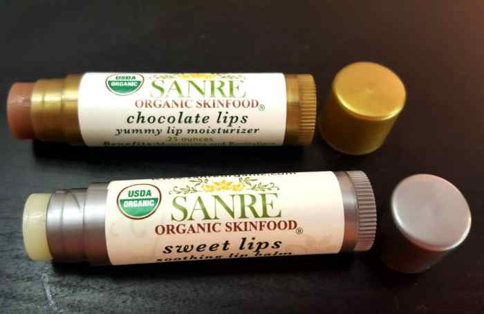 sanre organic skinfood chocolate lips and sweet lips
