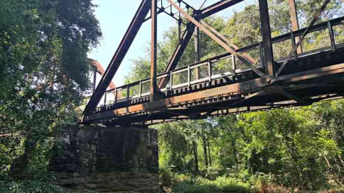 staunton river bridge with original support pillars