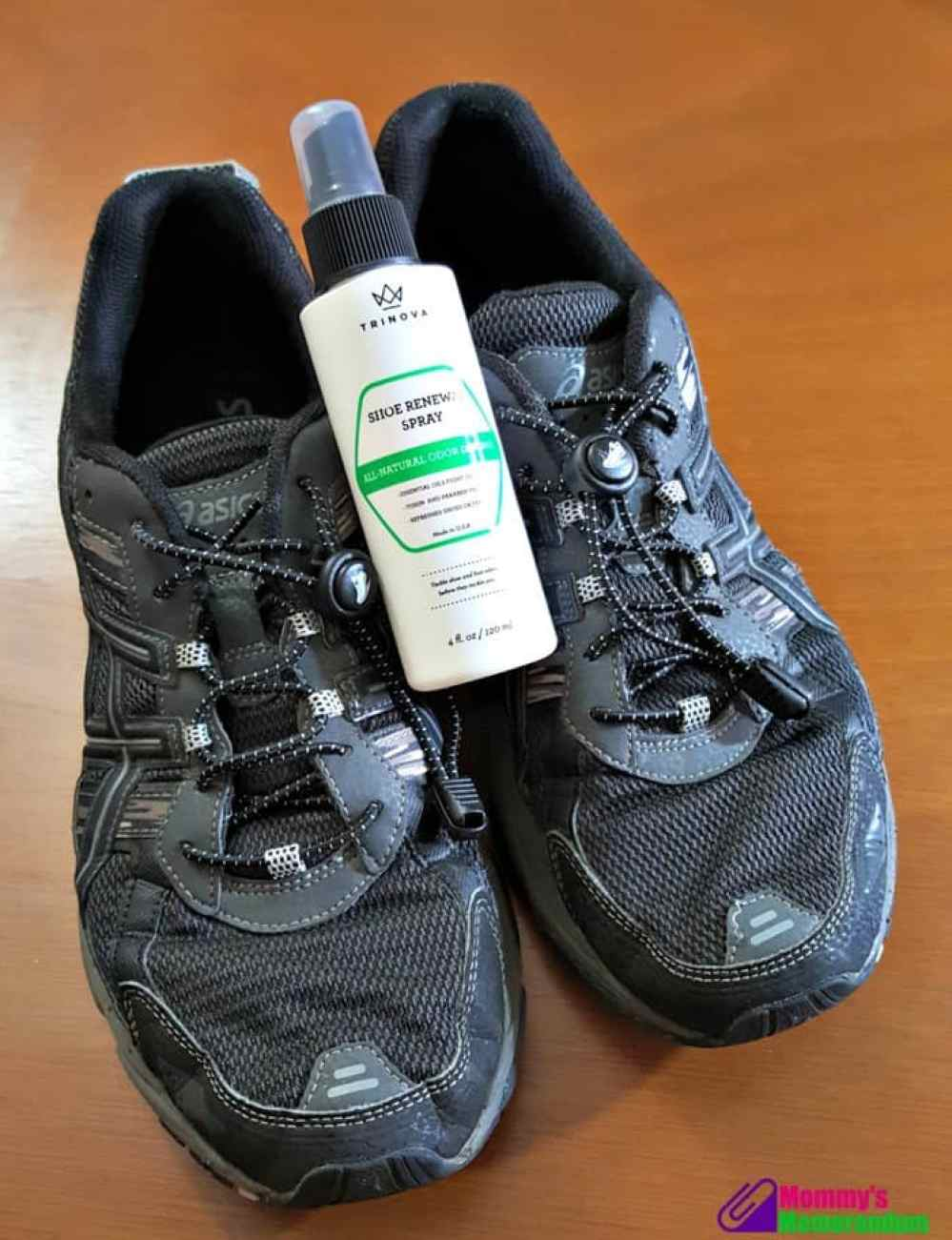 trinova shoe renewal spray with shoes
