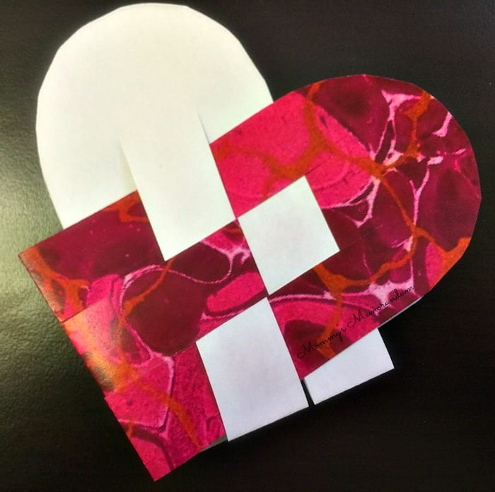 woven heart basket with two rows complete