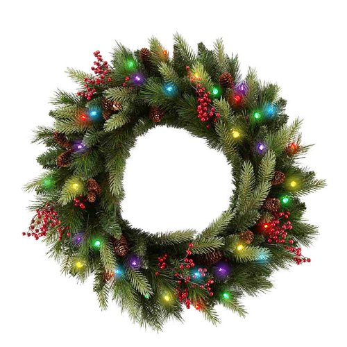 cordless led pre lit cone berry christmas wreath this battery operated christmas wreath lets you decorate anywhere indoors or out