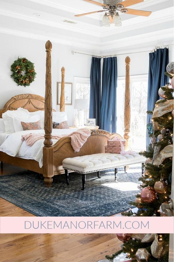 Duke Manor Farm Blush and Navy Bedroom For Holidays