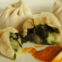 Veg Momos : Tse spinach&cheese momos by Momo bar