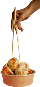 chopsticks and momos