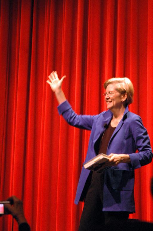 Senator Elizabeth Warren greets the crowd at the Wadsworth Theater in Los Angeles. Photo by Anoosh Jorjorian