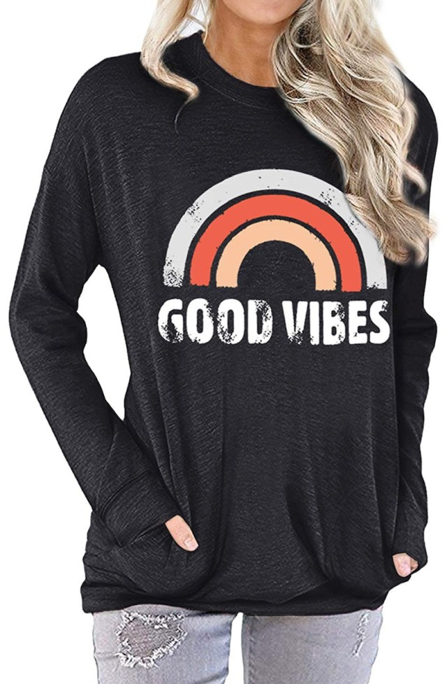 Good Vibes Long Sleeve Graphic T-Shirt