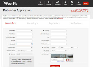 Signing up as a publisher with Peerfly
