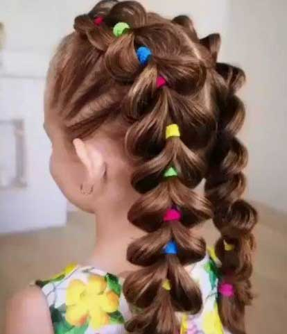 Cute Toddler Girl Hairstyles Wih Middle Part Segmented Braid
