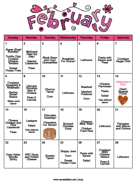 February 2015 Budget Meal Plan - A Month of Meals for $148 | 28 Days of No-Repeat Dinner Menu Plan