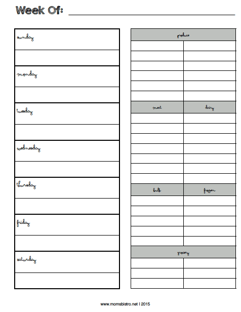 printable weekly meal planner freebie