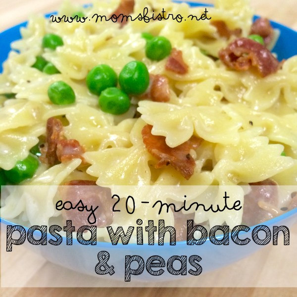 easy 20 minute pasta with bacon and peas